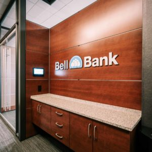 Bell Bank logo on the wall in Fargo offices