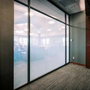 Bell Bank translucent windows in meeting room